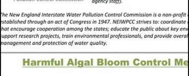 NEIWPCC Harmful Algal Bloom Control Methods Synopses