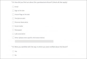A survey on cyanobacterial bloom notifications: what works, what doesn't work, and what could be better?